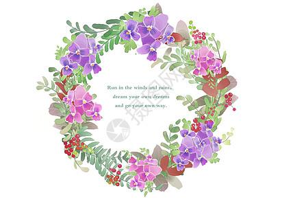 三色堇花环素材图片