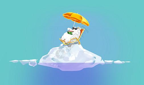 北极熊 夏日休闲图片