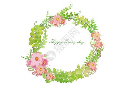 粉色小花花环图片