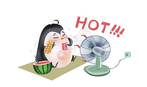 夏天企鹅吃西瓜图片