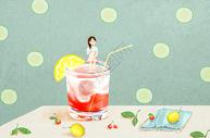 夏季冷饮创意插画图片