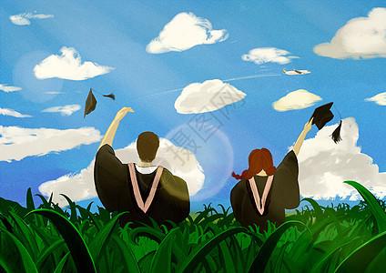 站在草丛中的毕业生图片
