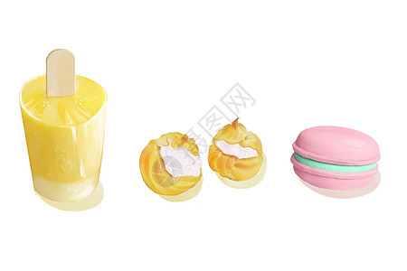 彩色甜品甜点创意插画图片