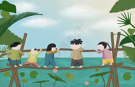 六一儿童节出游插画图片
