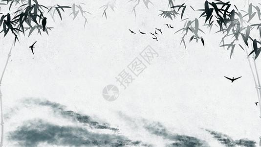 山水竹子背景素材图片