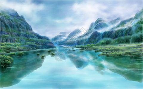水墨山水画背景  太行山大峡谷图片