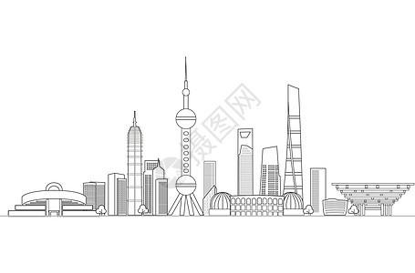 上海地标都市线稿图片