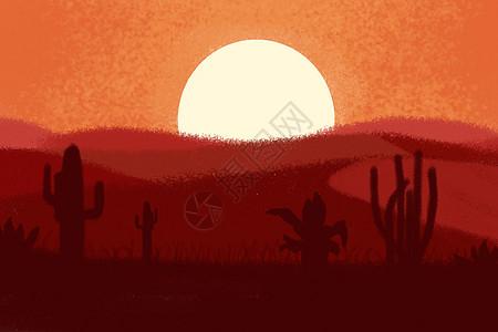 傍晚绚丽的沙漠图片