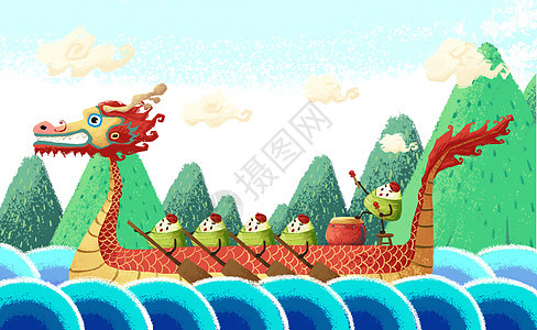 端午节划龙舟插画图片