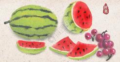 夏天西瓜水墨插画图片