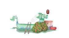 端午节龙舟粽子插画图片