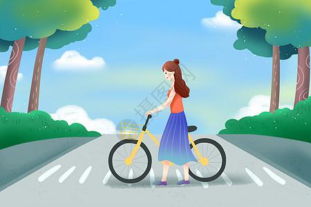 骑自行车 过马路图片