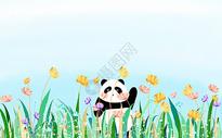 小清新熊猫植物背景图片