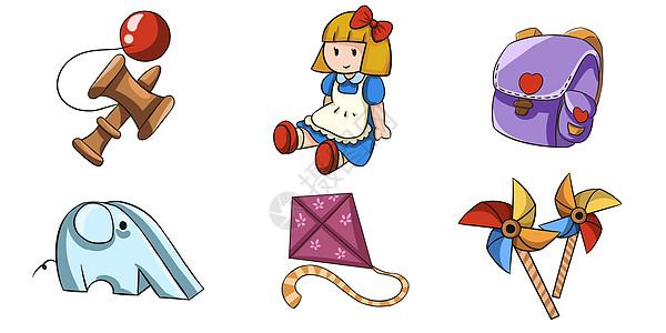 手绘儿童节儿童玩具插画图片