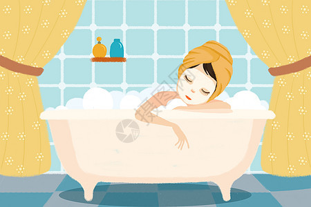 美女浴室泡澡敷面膜图片