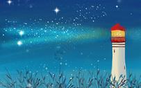 夜间唯美风景插画图片