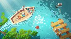 夏季划船钓鱼的兄弟图片