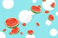 夏季美味水果西瓜插画图片