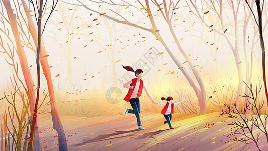 我和妈妈在树林中图片