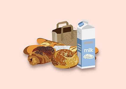 面包牛奶早餐图片