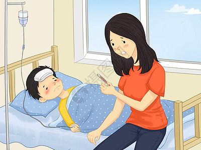 小孩感冒发烧高清图片