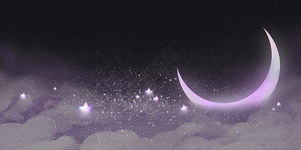梦幻唯美星星月亮云层背景图片