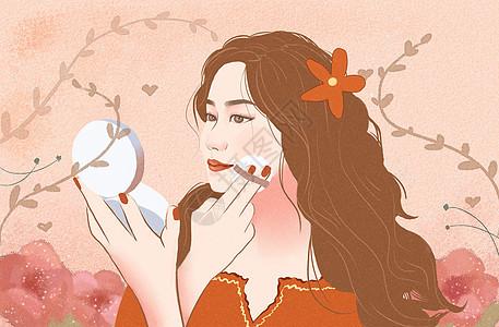 女孩化妆插画图片