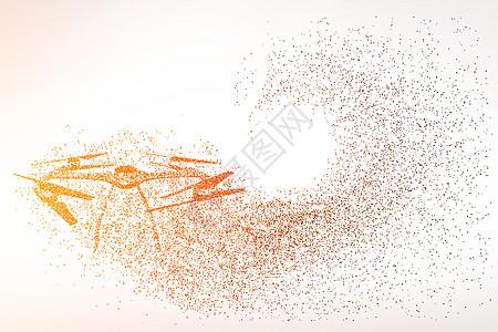 创意无人飞机剪影粒子图片