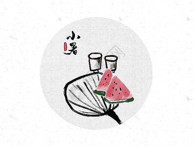 小暑二十四节气中国风水墨画图片