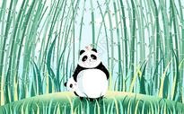 可爱熊猫父子图片