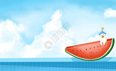 清新西瓜背景图片