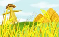 稻田中的稻草人图片