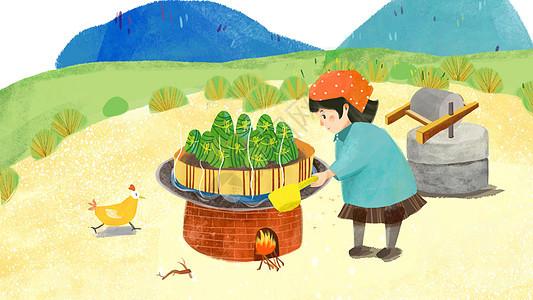 端午节传统习俗蒸粽子插画图片