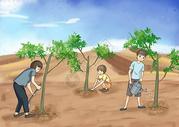 植树造林防治荒漠化图片