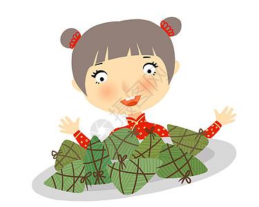 小童端粽子图片