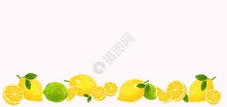 柠檬二分之一留白背景图片