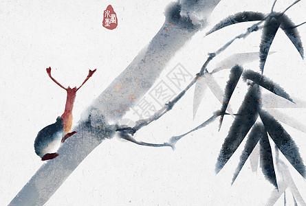 水墨竹子上的蜗牛图片