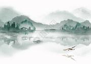 水墨山水飞鸟图图片