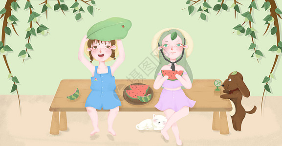 清新夏天女孩乘凉吃西瓜插画图片