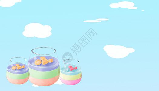 夏日彩色冰激凌甜品插画图片