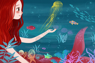 海洋美人鱼插画图片