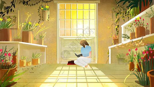 花室里看书的女孩图片