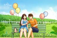 夏日约定-公园情侣图片