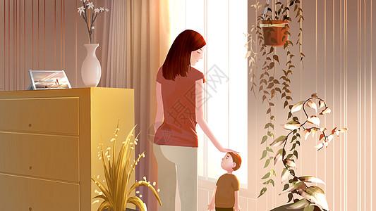 我和妈妈在窗边说话图片