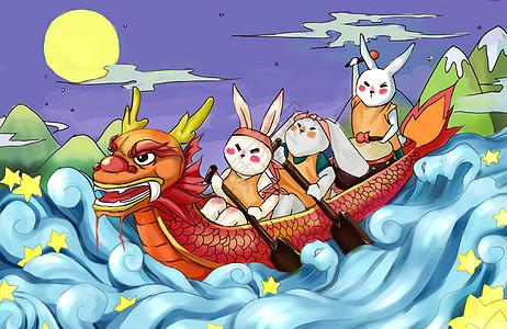 端午节龙舟插画图片