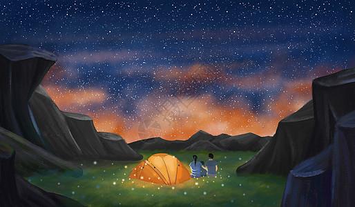 山顶露营的一家人图片