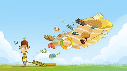 旅游卡通创意插画图片