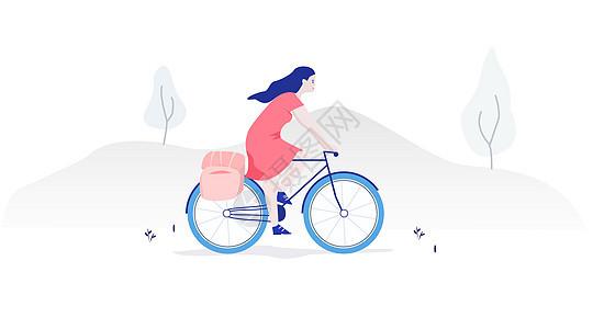 旅游女孩骑单车矢量插画图片