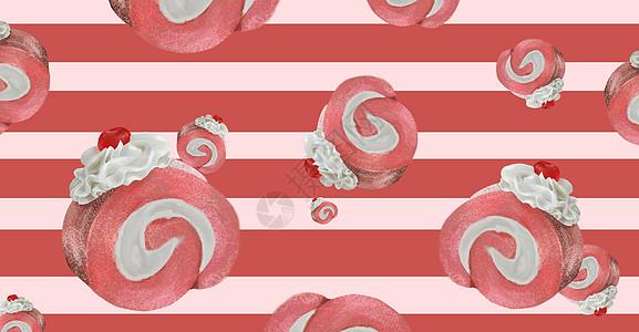 美食奶油夹心蛋卷插画图片