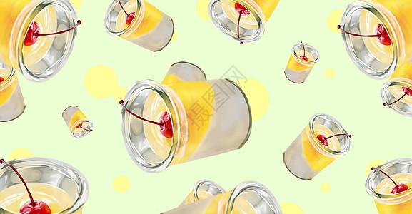 夏季冷饮樱桃甜品杯插画图片
